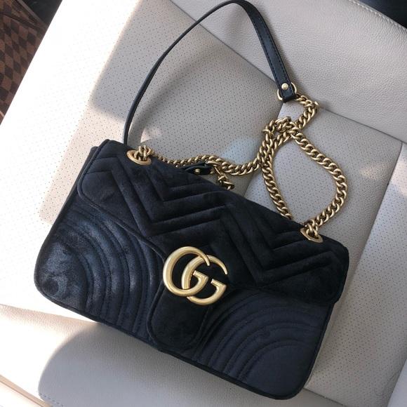 8d2c899acc2d Gucci Handbags - GUCCI MARMONT BLACK VELVET PURSE SHOULDER BAG